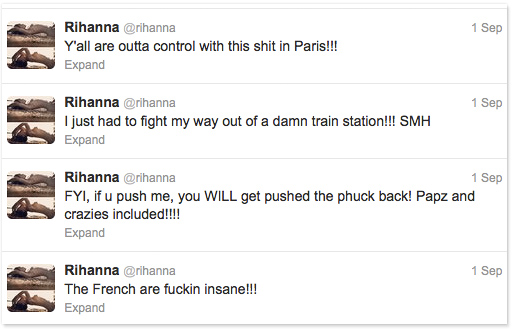 Rihanna's angry tweets after her arrival in Paris September 2012