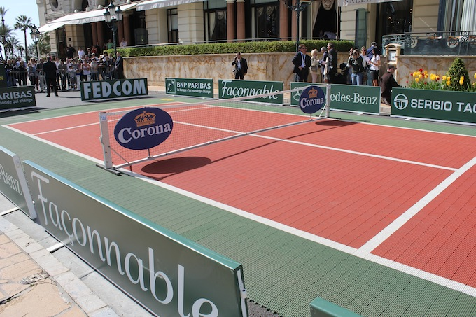 The mini tennis court in Place du Casino in Monaco