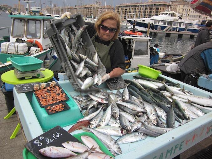Fish seller in Marseille port