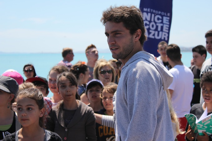 Gilles Simon plays mini tennis in Nice