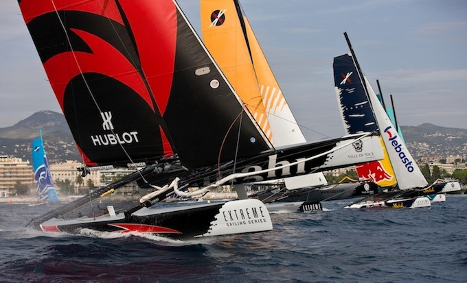 Action from the Extreme Sailing Series 2012 in Nice - photo © Lloyd