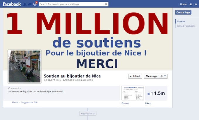 Bijoutier de Nice suport page on Facebook
