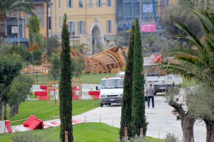 Works being completed at Promenade du Paillon in Nice