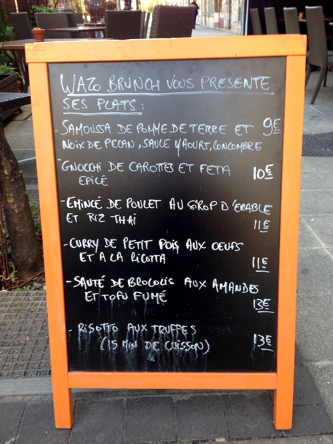 The menu board at Wazo Brunch in Nice