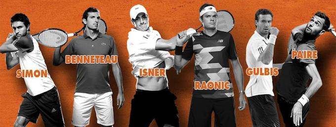 Some of the players in the Open de Nice tennis ATP 250 event 2014