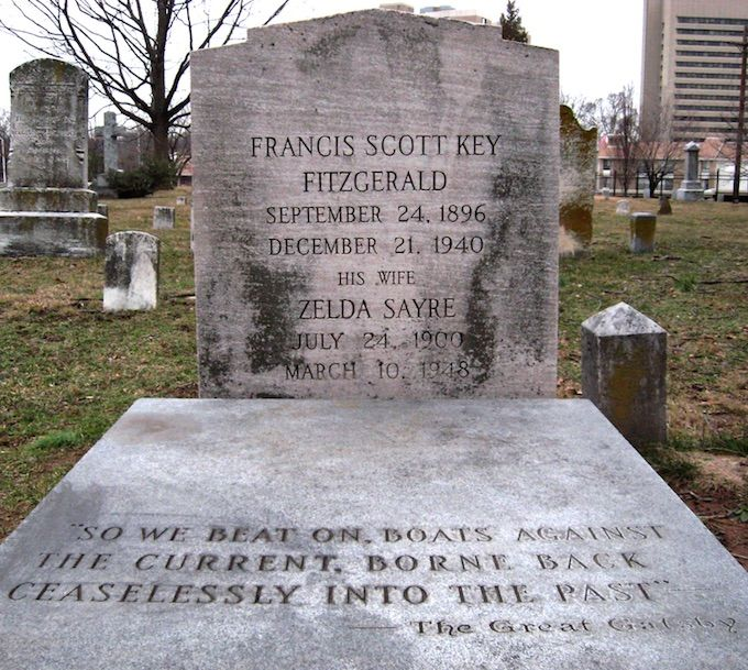 The grave of F. Scott and Zelda Fitzgerald