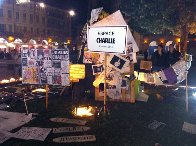 Je Suis Charlie vigil in Nice, January 2015