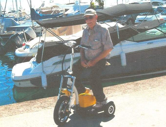 Ken Dewar and his Dragonfly scooter
