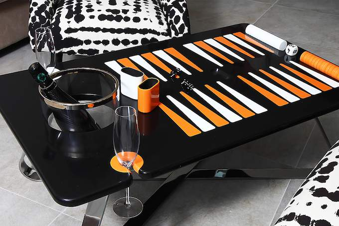 The Orange Line Backgammon Table