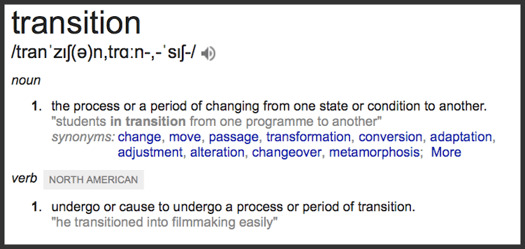 Google definition of Transition
