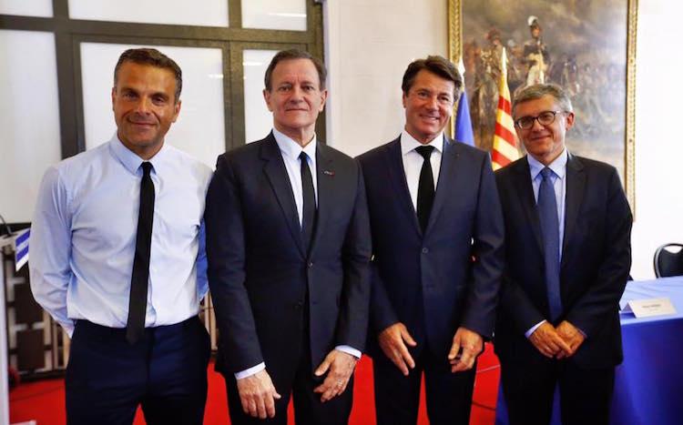 Steve Suissa, Francis Huster, Christian Estrosi, Jean-Luc Gag courtesy Ville de Nice