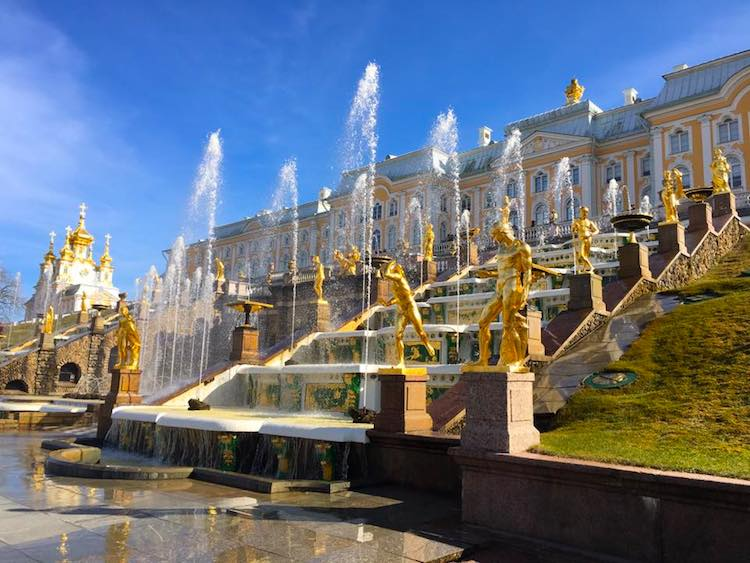 Gilded statues at Peterhof