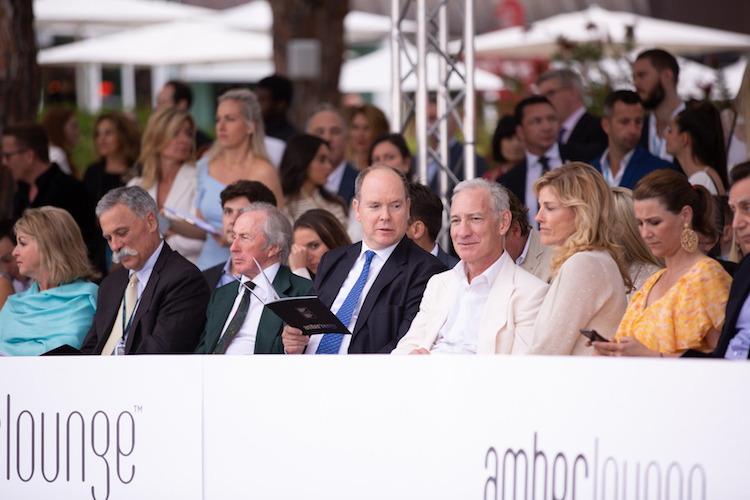 Amber Lounge Monaco Fashion Show - Prince Albert of Monaco and Sir Jackie Stewart