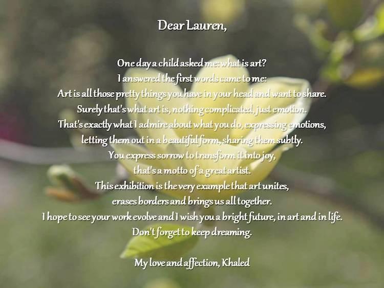 Letter from Khaled for Lauren