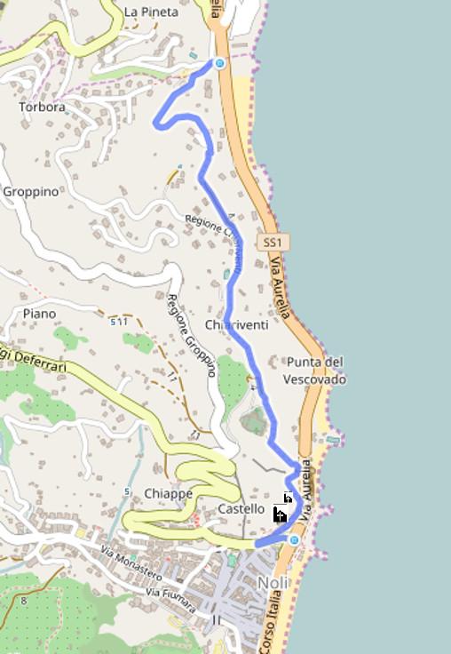 Passeggiata tra Spotorno e Noli mappa