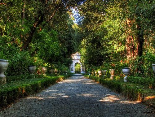 Villa Durazzo Pallavicni via alberata con arco
