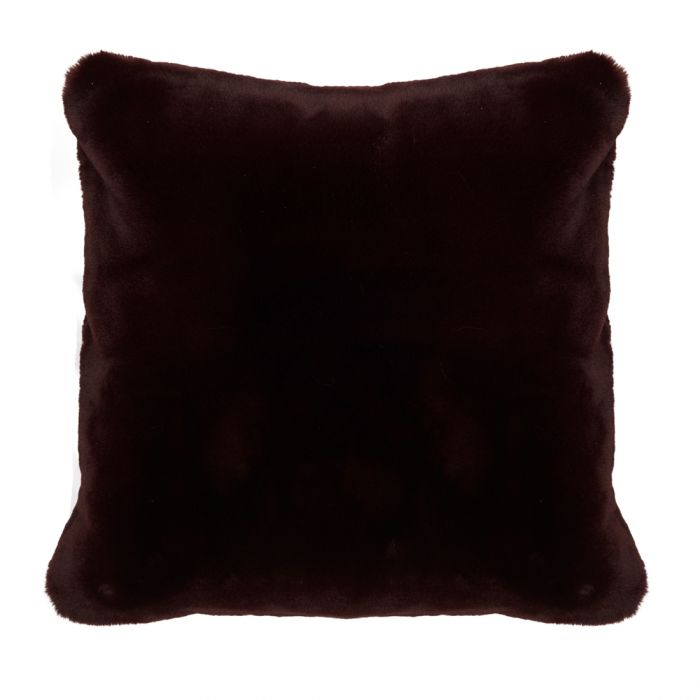faux fur pillow cover dark red 50x50