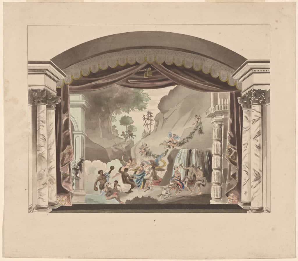 Décor de théâtre sur une toile peinte.
