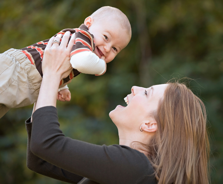 Mother and Son Playing