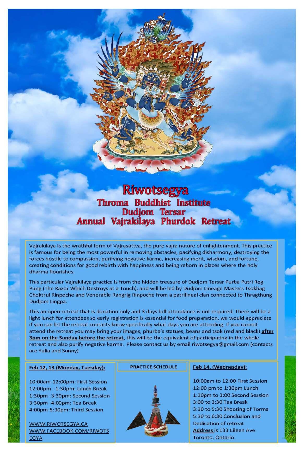 Riwotsegya Annual 3 Day open Vajrakilaya Phurdok Retreat Feb 12,13,14 2018