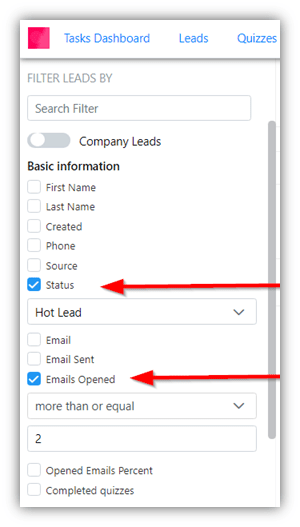 Figure 4: LE CRM Leads Screen with Notes and Status Columns