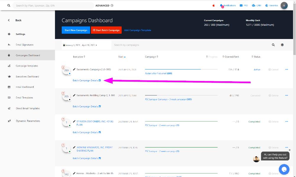 Step 3. Select Batch Campaign Details