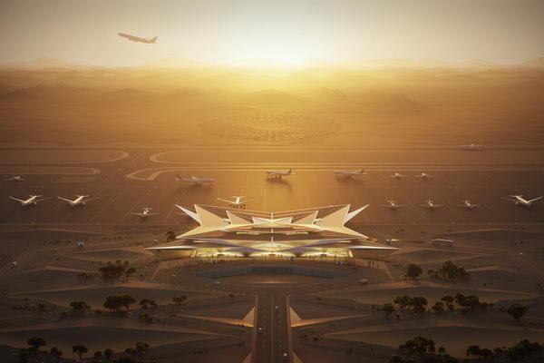 """""""أمالا"""" تكشف عن تصميم مطارها الدولي الجديد المستوحى من السراب الصحراوي من """"فوستر آند بارتنرز"""""""
