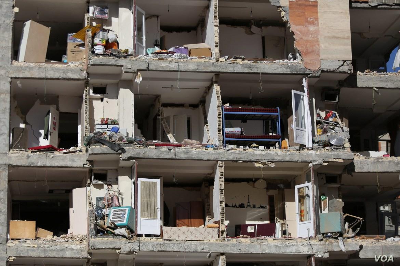A damaged building is seen following an earthquake in Sarpol-e Zahab county in Kermanshah, Iran. Nov. 13, 2017.