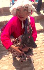 Jeune fille péruvienne et son bébé lama