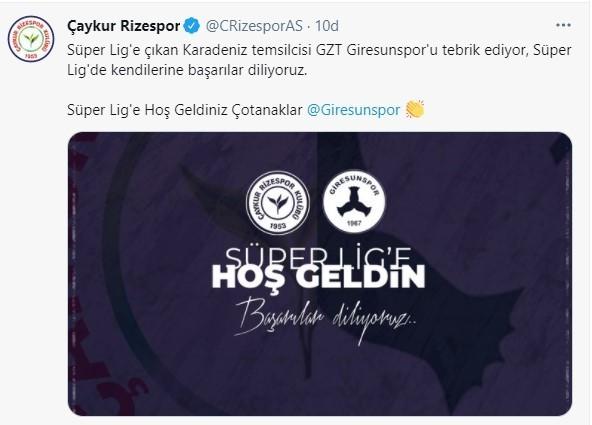 Rizespor'dan Giresunspor ve Adana Demirspor mesajı