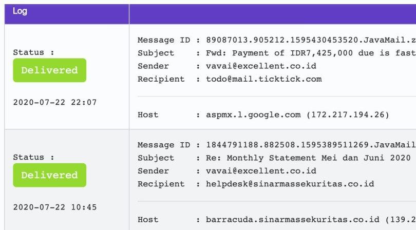 Hasil Search Tracking Log
