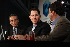 Michael Dell on theCUBE with John Furrier and Dave Vellante at DellWorld 2012.