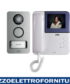 Kit monofamiliare a colori con videocitofono Symply e pulsantiera Mikra