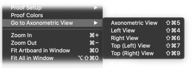 AxoTools go-to-view menu
