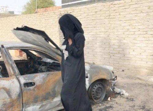 صور حرق سيارة سلمى البركاتي