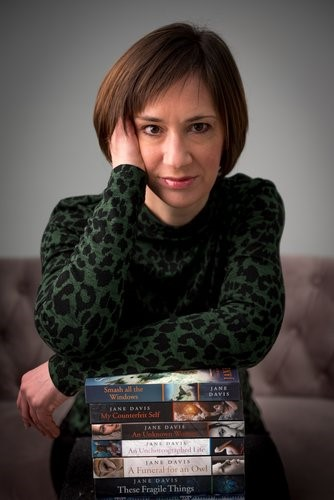 Author Jane Davis with her previous novels