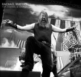 (Photo by Rachael Mattice/Journal & Courier) Amon Amarth performs on the Main Stage during Mayhem Festival at Klipsch Music Center in Noblesville, Ind. on Friday, July 26, 2013.