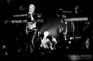 """(Photo by Rachael Mattice/Journal & Courier) Pink performs at Bankers Life Fieldhouse in Indianapolis, Ind. for her """"The Truth About Love"""" tour on Thursday, November 21, 2013."""