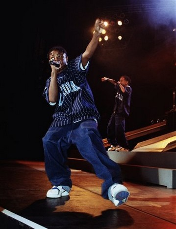 """AP photo May 1: Chris Kelly, member of the rap duo Kris Kross, known for the song """"Jump"""" and for wearing their clothes backwards"""
