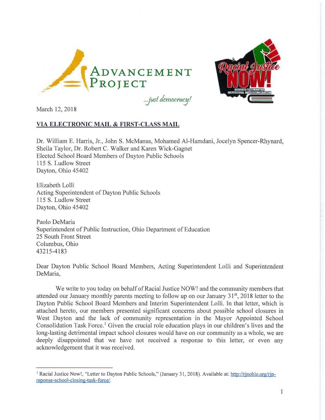 March Th Letter From Rjn  Advancement Project To Dayton Public