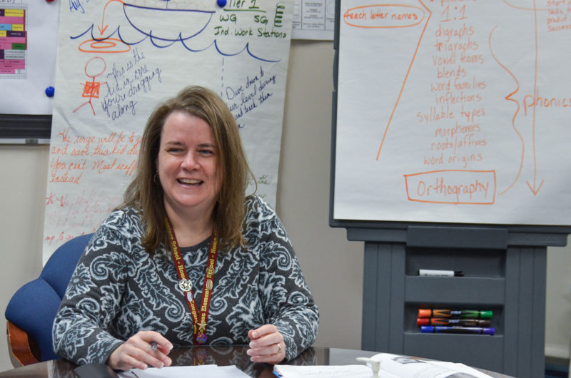 Principal Kathy Bast leads a discussion with her teachers on the reading science, March 2018.