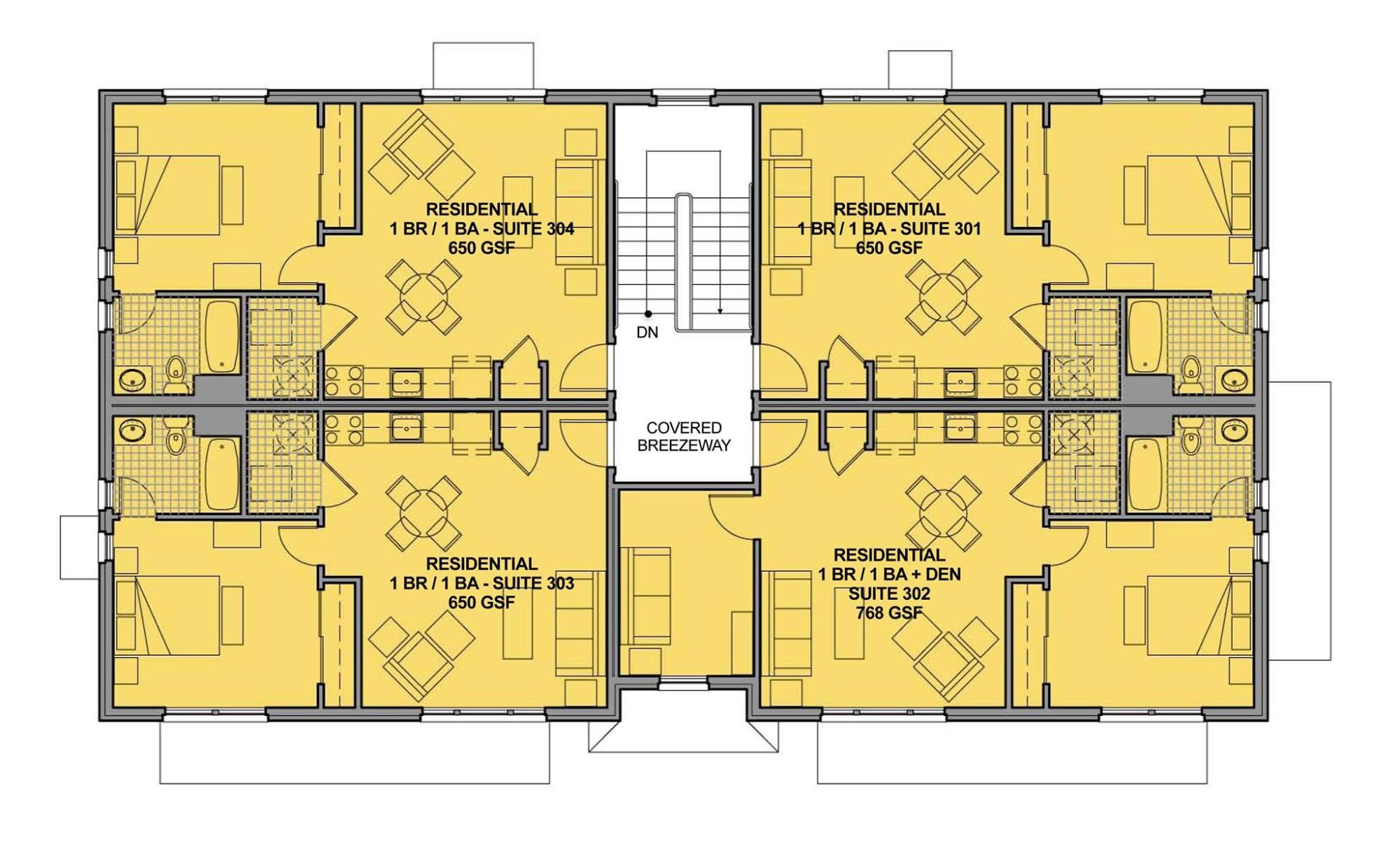 hight resolution of upper story plan