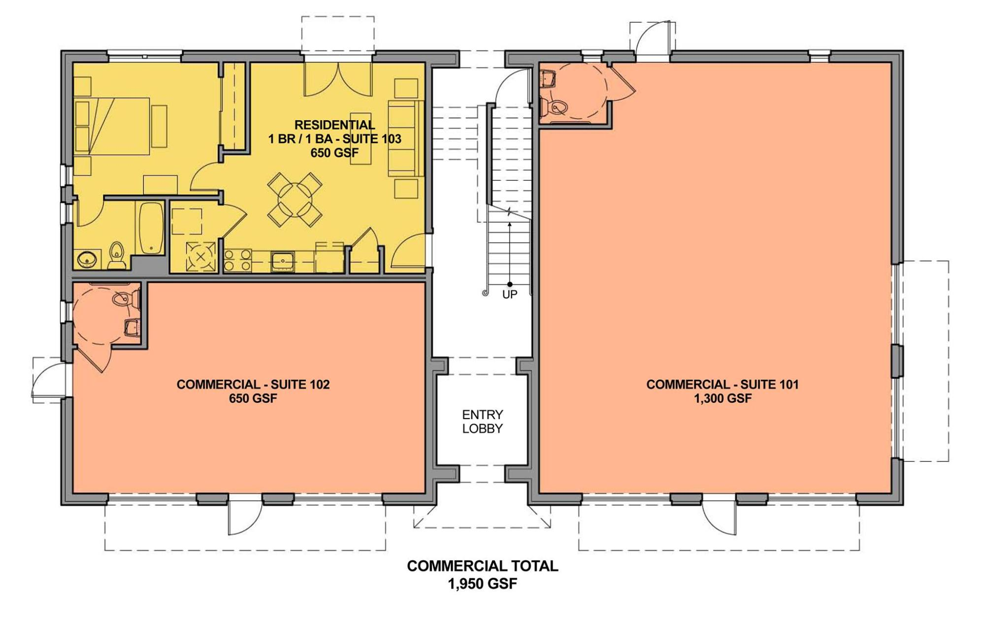 hight resolution of ground floor with one accessible unit to take care of the fair housing act requirement for