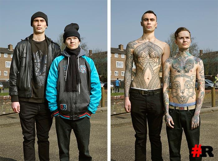 Татуированные люди в одежде и без одежды