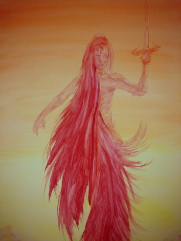 Red Princess - Acrylic and Watercolor on Canvas - WIP