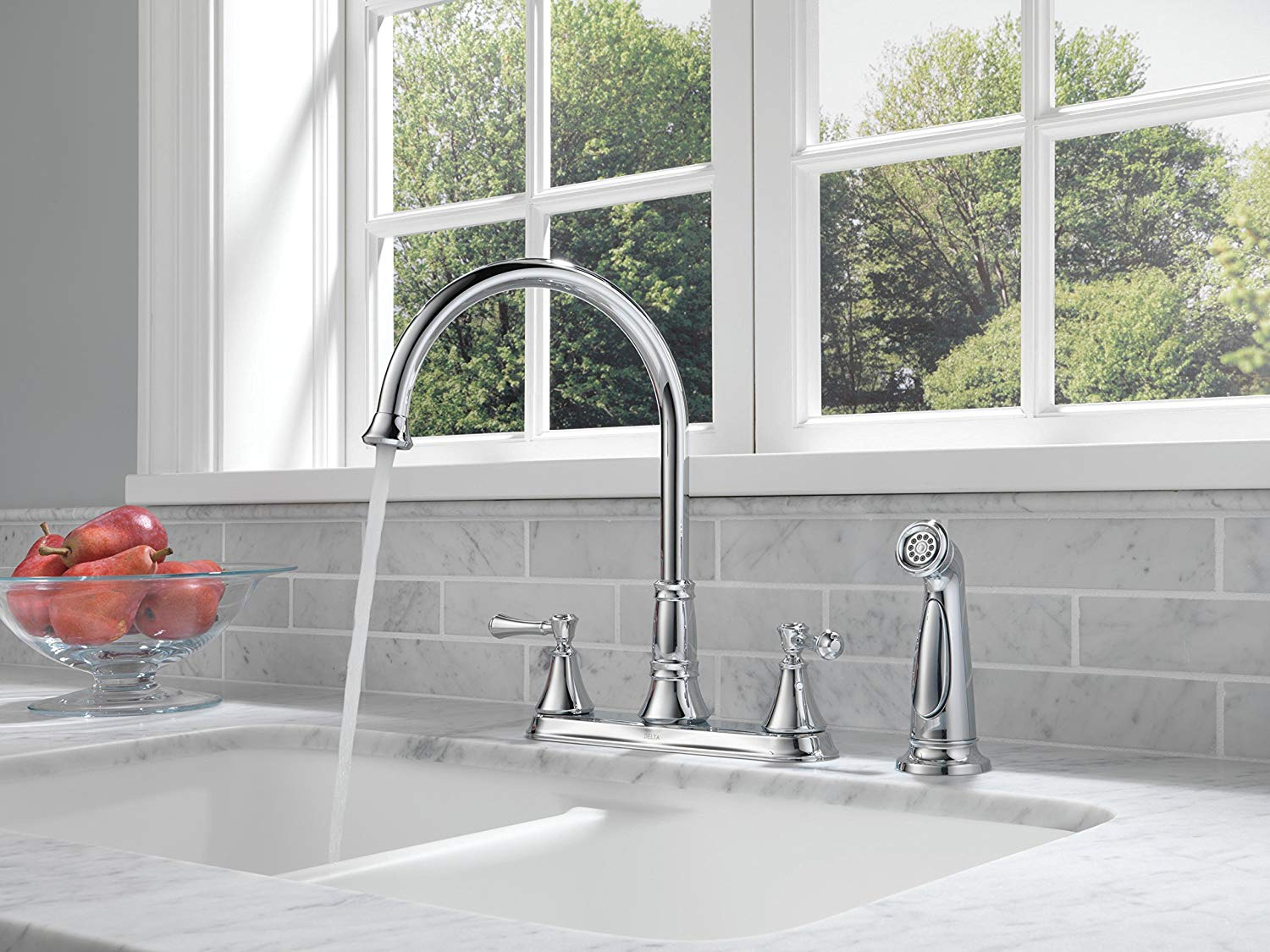 delta faucet 2497lf cassidy two handle kitchen faucet with spray chrome