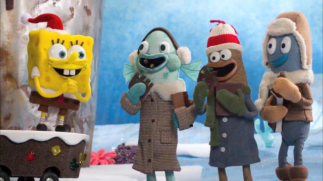 Spongebob spreads Christmas joy wherever he goes