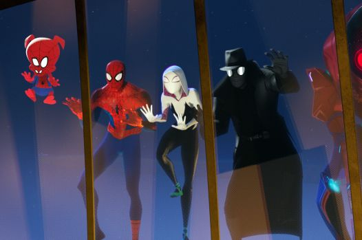 Spider-Man, Spider-Ham, Spider-Ham, Spider-Gwen, Spider-Noir, and Spider-Anime