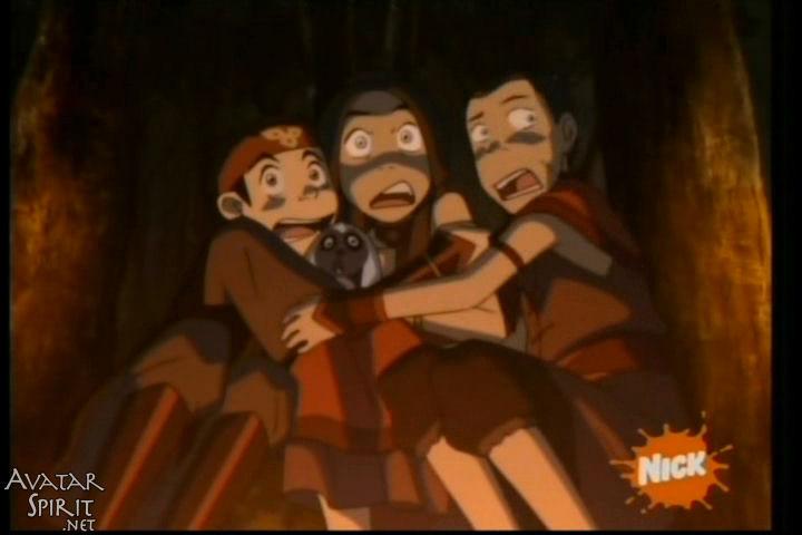 The Puppetmaster, Aang, Sokka, Katara, and Momo all scared