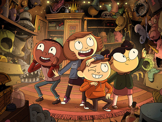 The Heroes of Costume Quest: Everett, Wren, Reynold, and Lucy